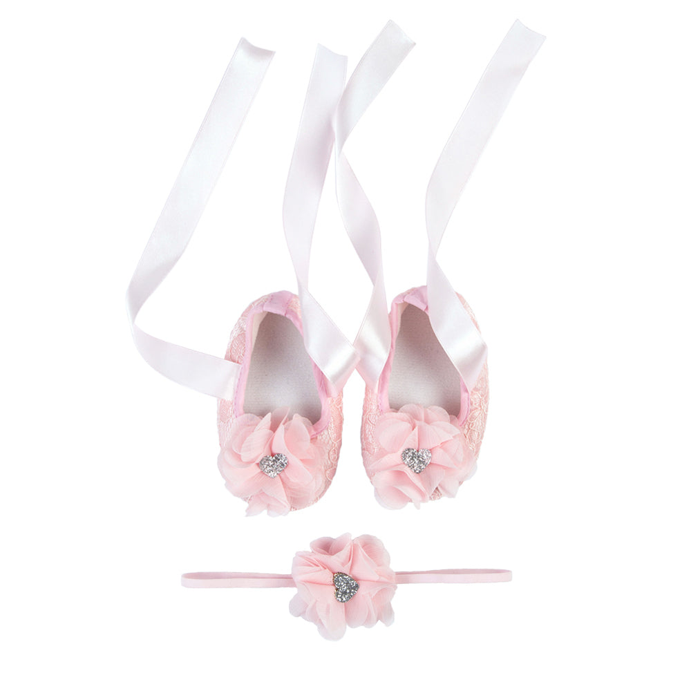 La Vera Kids - Baby Girl Pink Lace Shoes and Headband Set | Dress Shoes | Bon Bon Tresor