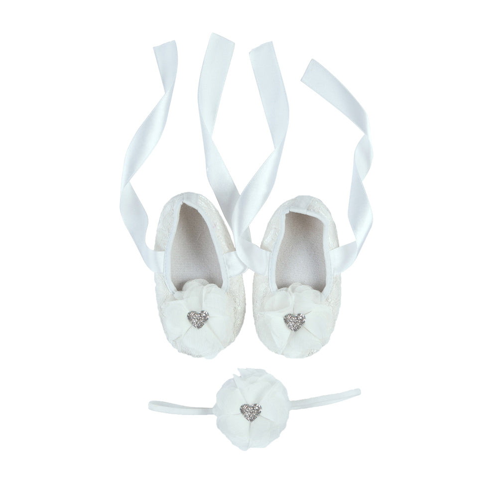La Vera Kids - Baby Girl White Lace Shoes and Headband Set | Dress Shoes | Bon Bon Tresor