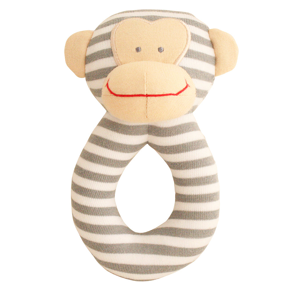 Alimrose Designs - Monkey Grab Rattle Grey | Rattles & Squeakers | Bon Bon Tresor