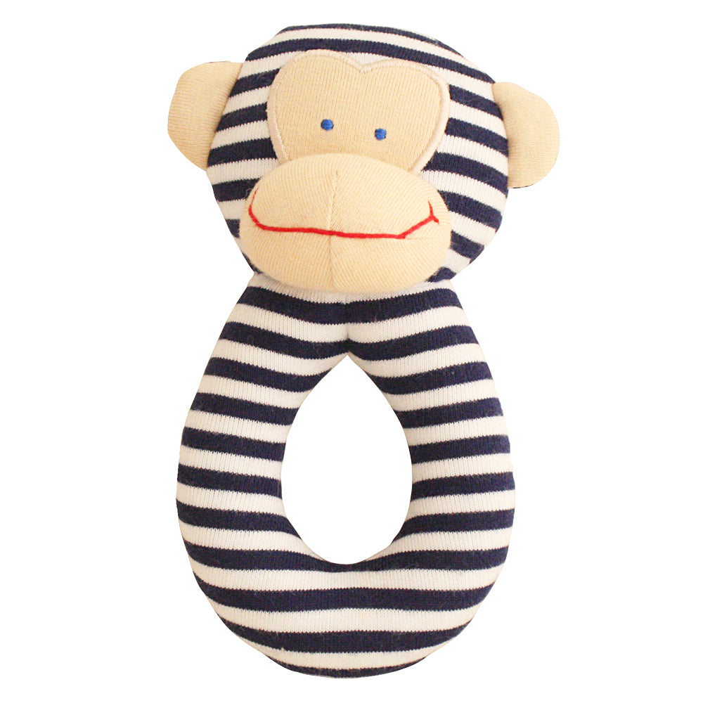 Alimrose Designs - Monkey Grab Rattle Navy | Rattles & Squeakers | Bon Bon Tresor