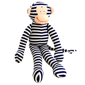 Alimrose Designs - Monkey Navy Stripe Toy Rattle | Rattles & Squeakers | Bon Bon Tresor