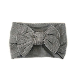 Sister Bows - Knotted Baby Headband Pale Grey | Hair Accessories | Bon Bon Tresor