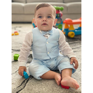 Barcellino - Baby Boy Blue 3 Piece Suit | Christening Suits & Sets | Bon Bon Tresor