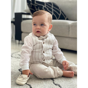 Barcellino - Baby Boy 3 Piece Suit White and Linen | Christening Suits & Sets | Bon Bon Tresor