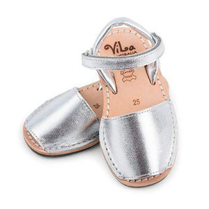 Vila Australia - Girls Metallic Silver Leather Sandal | Dress Shoes | Bon Bon Tresor