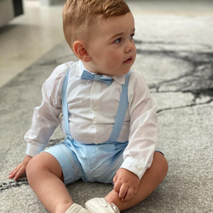 Barcellino - White and Baby Blue Shorts Suit | Christening Suits & Sets | Bon Bon Tresor
