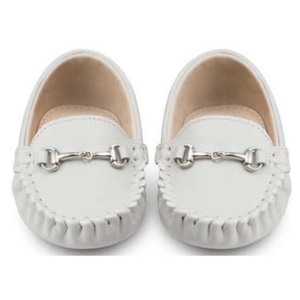 Oscar's For Kids - Lucca White Baby Loafers | Moccasins & Loafers | Bon Bon Tresor