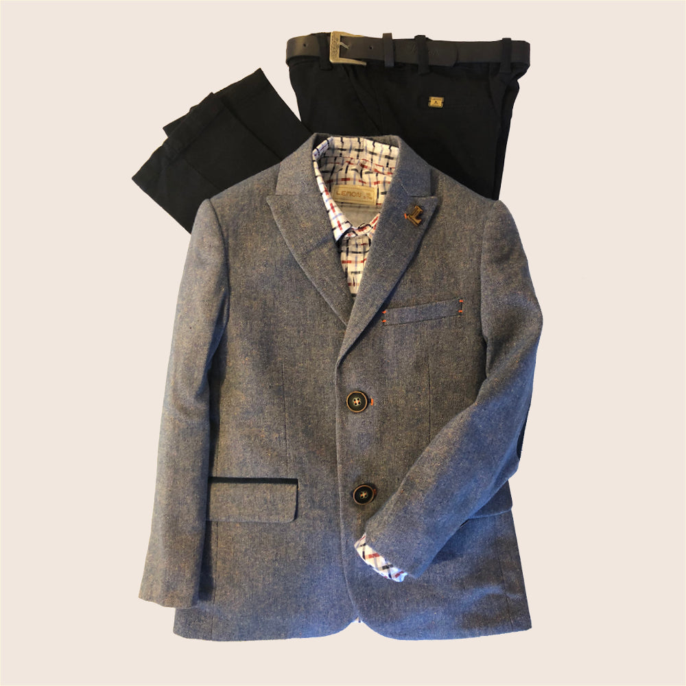 Lemon - Boys 4 Piece Washed Blue Suit | Suits | Bon Bon Tresor
