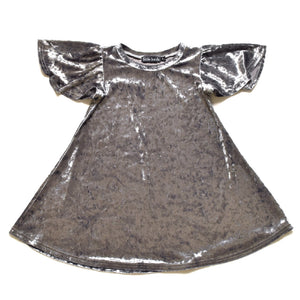 Little Lords - Girls Silver Velvet Party Dress | Dresses & Skirts | Bon Bon Tresor