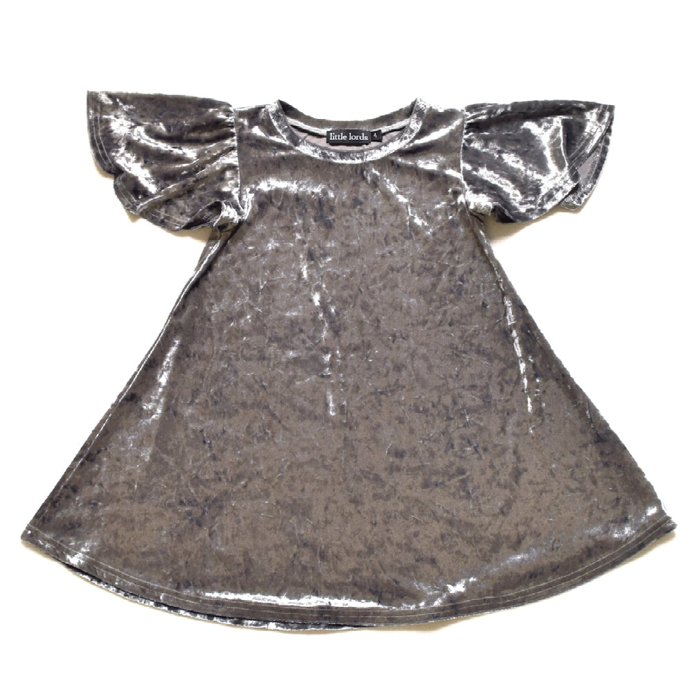 Little Lords - Silver Velvet Party Dress | Dresses & Skirts | Bon Bon Tresor