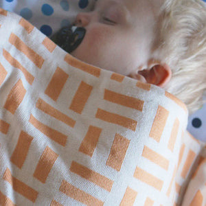 Branberry - Bricks Baby Cot Blanket Orange/White | Cot Blankets | Bon Bon Tresor