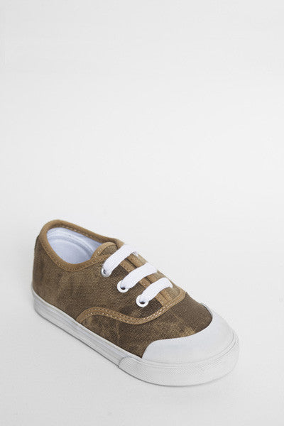 Jonah and the Girl - Bertie Khaki Kids Shoes | Canvas | Bon Bon Tresor