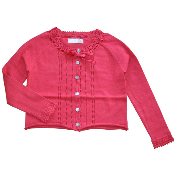 Willow and Finn - Girls Red Lace Cardigan - Bon Bon Tresor