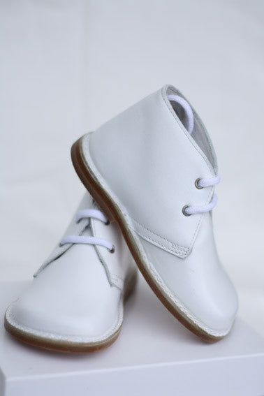 Morello Shoes - Toddler White Leather Bootie - Bon Bon Tresor