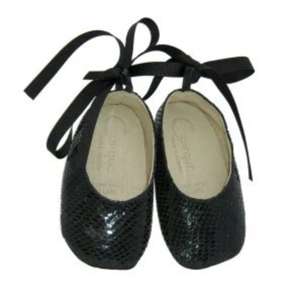 Czarque Baby Shoes - Baby Girl Charcoal Snake Ballet Shoes - Bon Bon Tresor
