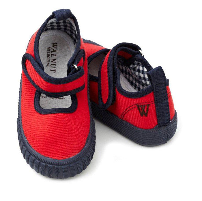 Walnut Shoes - Girls Red/Navy Mary Jane Shoe | Canvas | Bon Bon Tresor