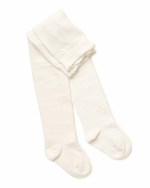 Marquise - Girls Off-White Knitted Tights | Tights | Bon Bon Tresor