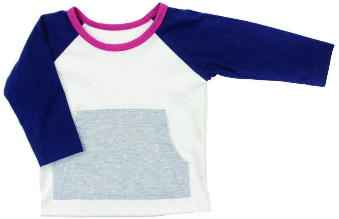 Gaia Organic Cotton - Baby Boy Navy Front Pocket Top | Tops & T-Shirts | Bon Bon Tresor