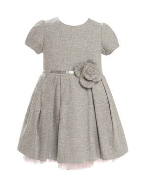 Balloon Chic - Soft Grey Wool Party Dress | Party Dresses | Bon Bon Tresor