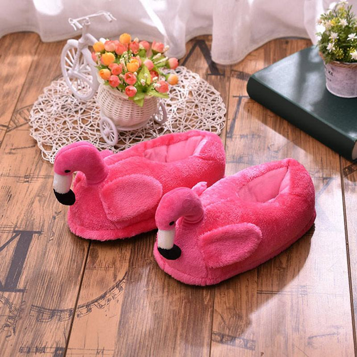 2020 Women Winter Slippers Ladies Warm Fur Plush Flat House Shoes Female Ear Fashion Comfortable Casual Slip On Flamingo Pig