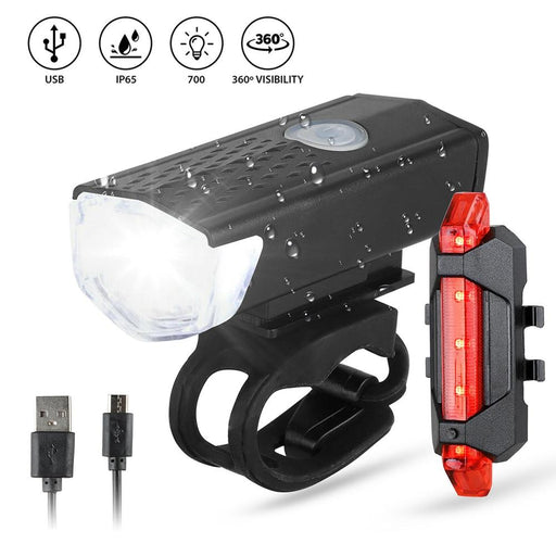 Bike Bicycle Light USB LED Rechargeable Set Mountain Cycle Front Back Headlight Lamp Flashlight