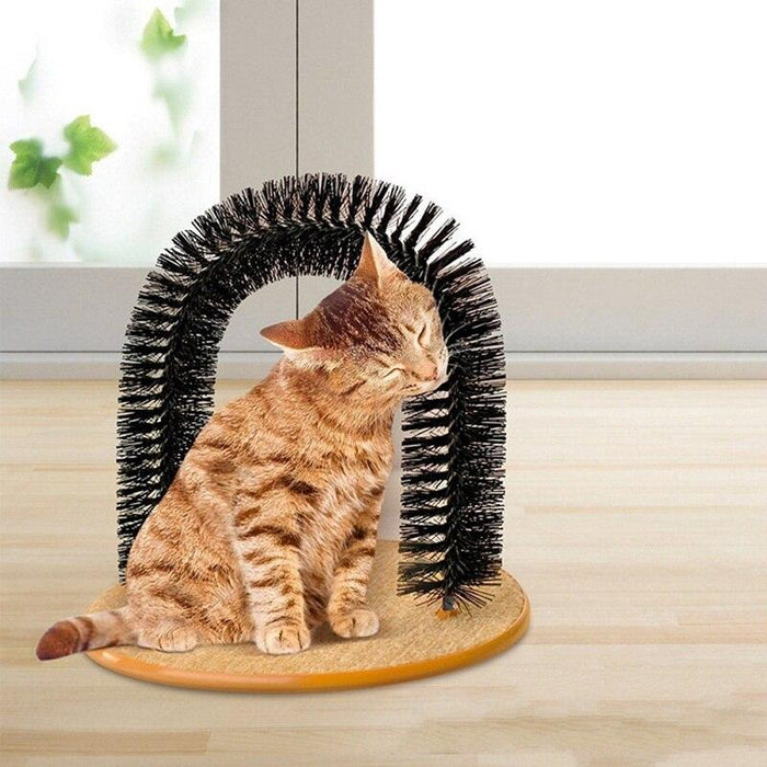 Good Arch Pet Cat Self Groomer With Round Fleece Base Cat Toy Brush Toys For Pets Scratching Devices