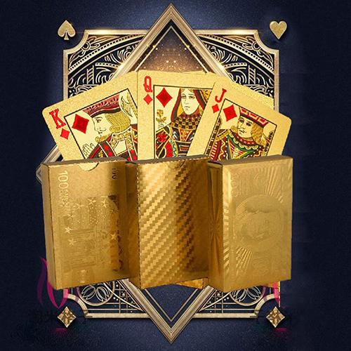 Luxury Gold Foil Poker Play Cards Dollar EUR Plaid Pattern Party Play Game