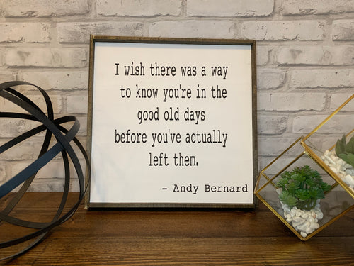 The Good Old Days | The Office Quotes | Andy Bernard | Wood Sign