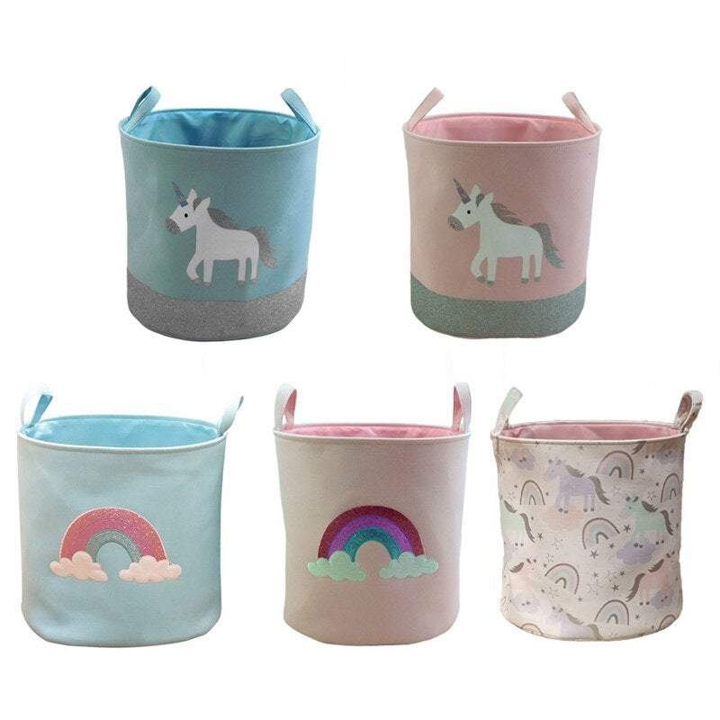 KTB Cotton Canvas Unicorn/Rainbow  Storage Basket