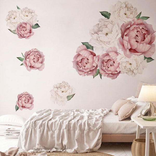 Pink and White Watercolor Peony Flower Wall Decal
