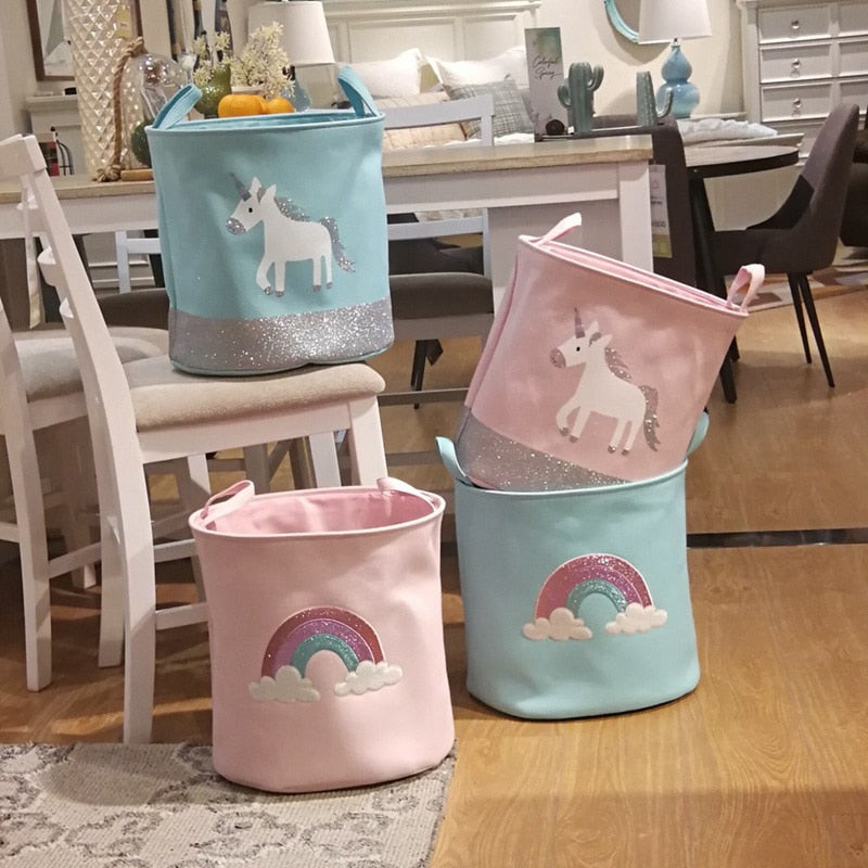 These beautiful  cotton canvas rainbow and unicorn baskets are a great addition for amazing room decor for kids