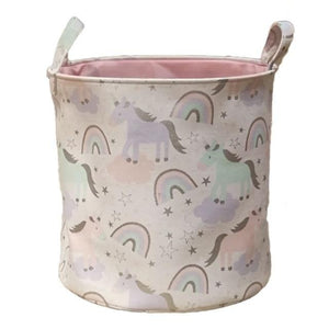 Open image in slideshow, This beautiful pink cotton canvas unicorn print basket is a great addition for amazing room decor