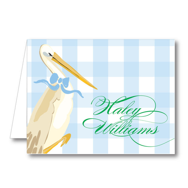 Baby Boy Stork Folded Notecard