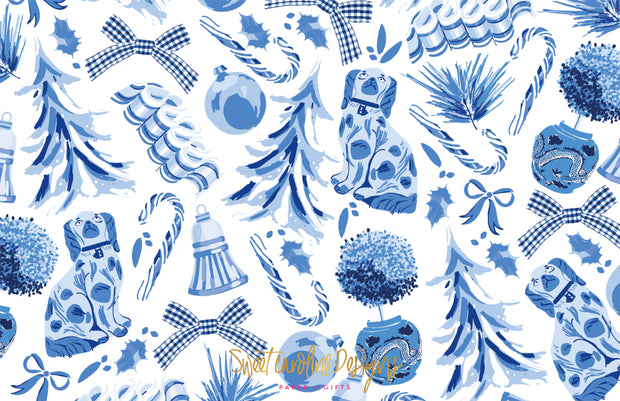 Blue Christmas Toile Border - Landscape Christmas Card