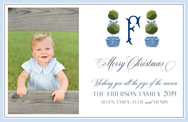 Blue Topiary - Landscape Christmas Card