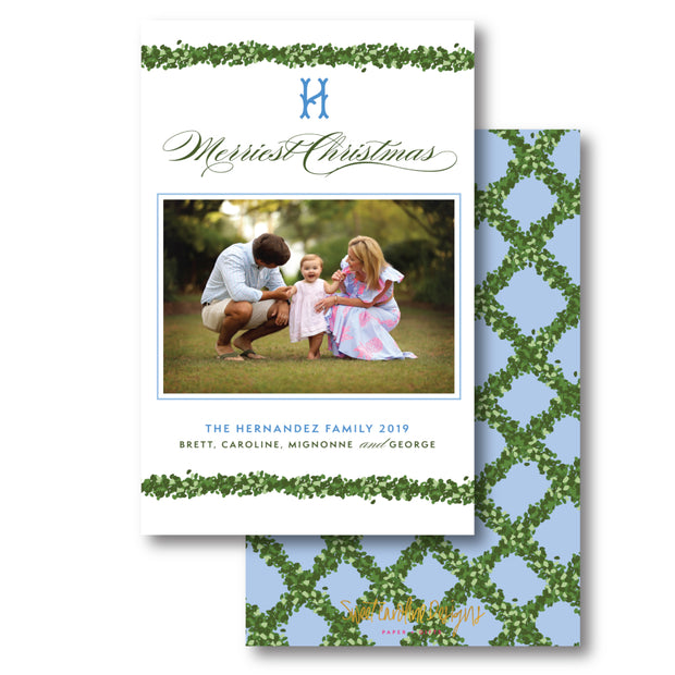 Blue Boxwood Trellis - Portrait Christmas Card