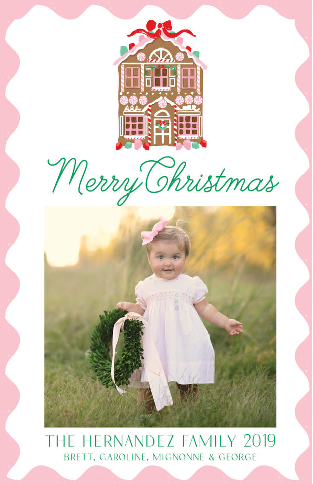 Gingerbread House - Portrait Christmas Card