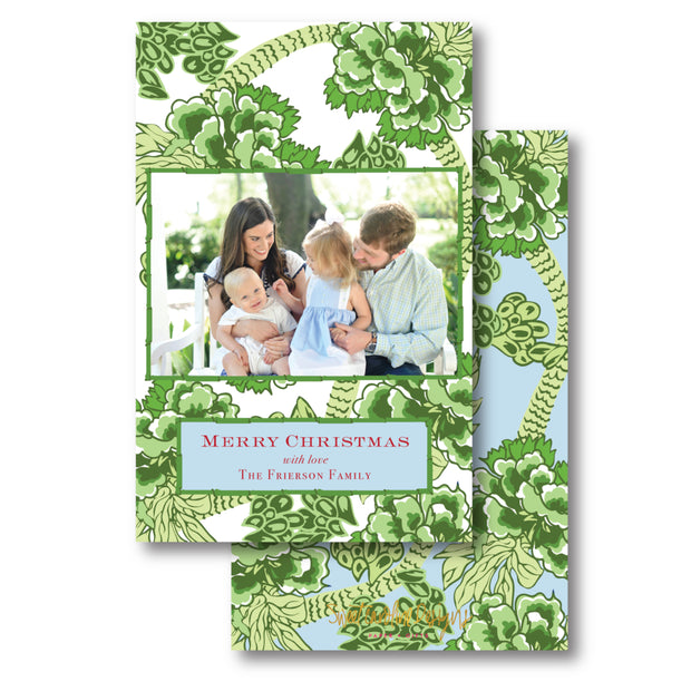 Green Chinoiserie - Portrait Christmas Card