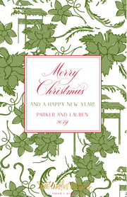 Green Floral - Portrait Christmas Card