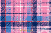 Pink/Navy Tartan Border - Landscape Christmas Card
