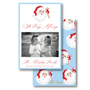 St. Nick Blue - Portrait Christmas Card