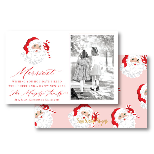 St. Nick Pink - Landscape Christmas Card