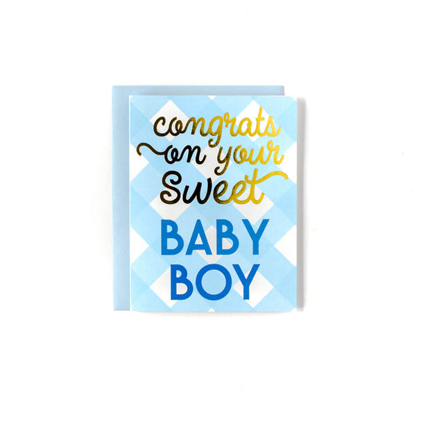 Baby Boy Check Greeting Card