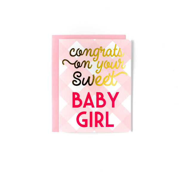 Baby Girl Check Greeting Card