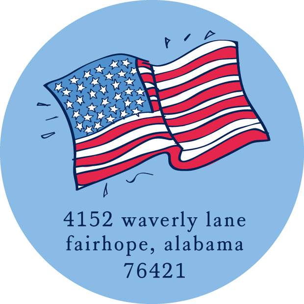American Flag Return Sticker