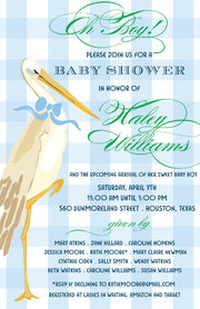 Baby Boy Stork Invitation