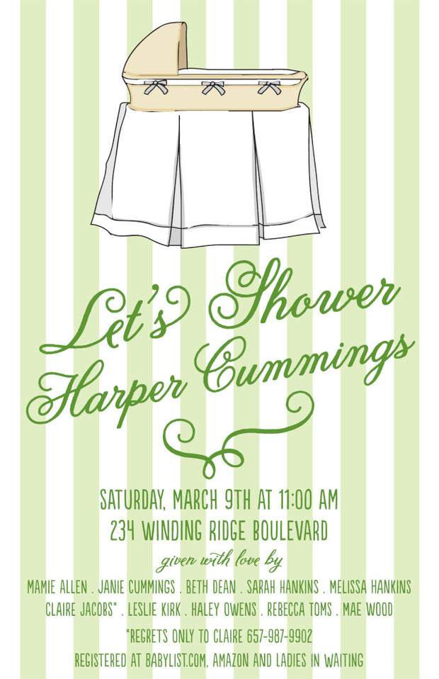 Green Bassinet Invitation