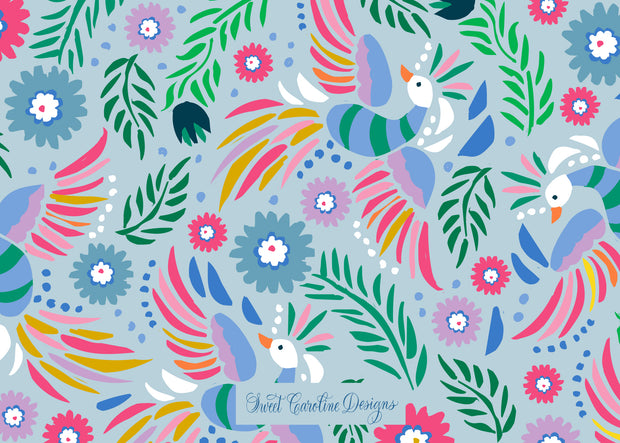 Birds of Paradise Blue Stationery