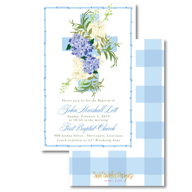 Blue Baptism Invitation
