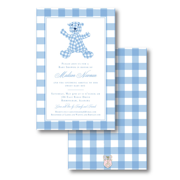 Blue Bear Border Invitation
